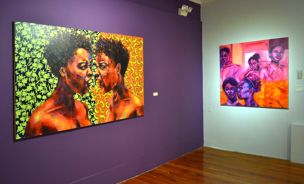 "Installation shot of ""Untitled (Kehinde Wiley)"", 2017 by Gabrielle Banks. ""The Mark of a Woman"" is Banks' solo show of work on view at the NAGB. Image courtesy of the NAGB."