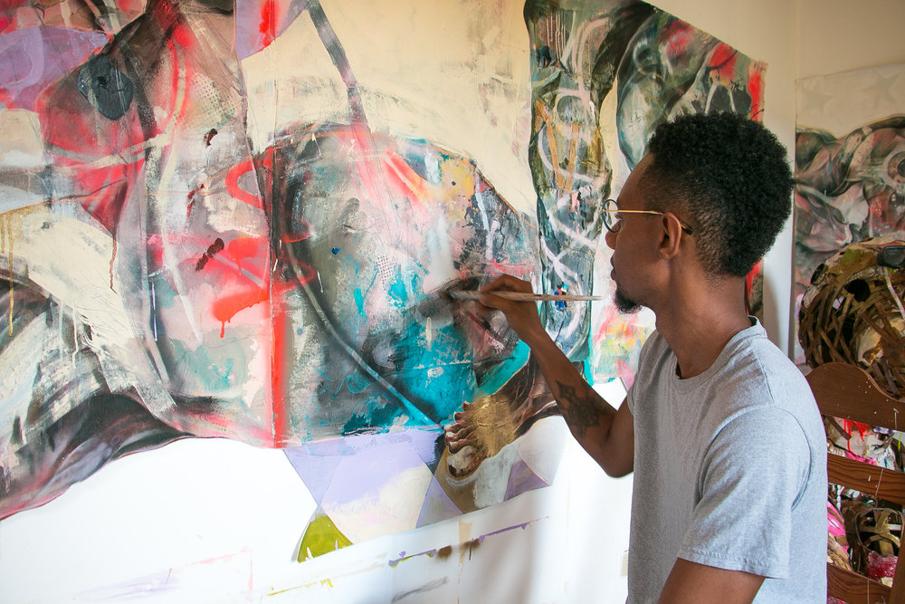Lavar Munroe working in his studio on Milton Street, Nassau Bahamas.  (Photo by Keisha Oliver)