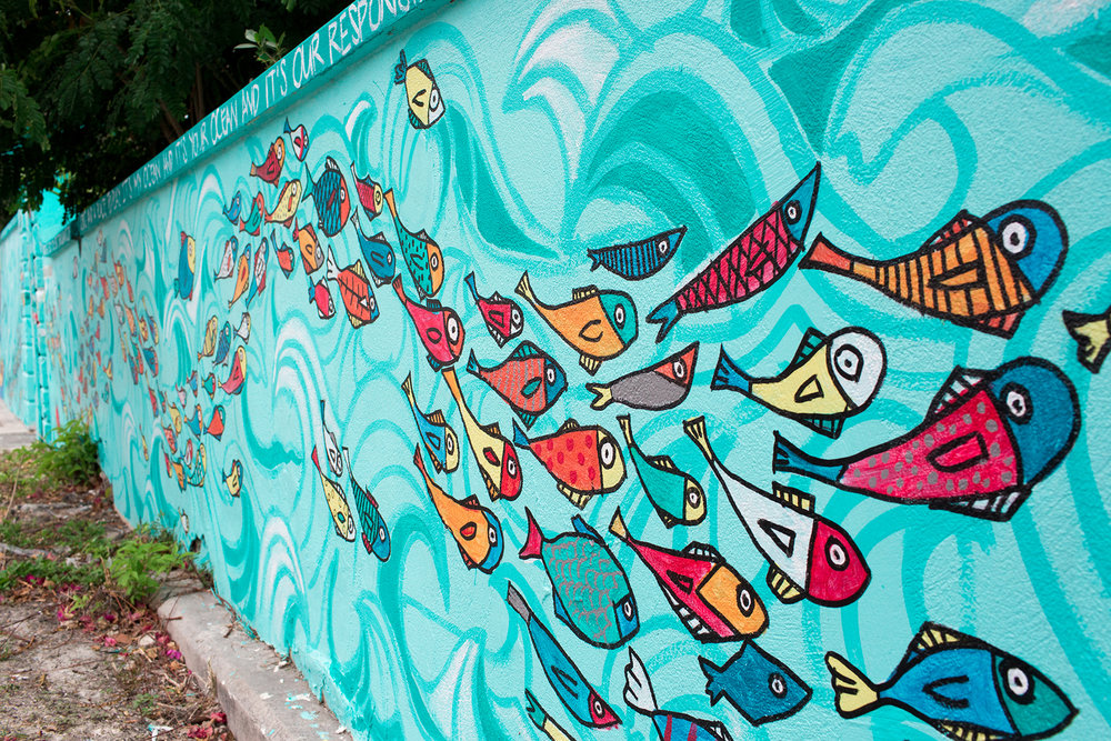 Dede Brown and Dylan Rapillard's 'World Oceans Day 2017' mural, commissioned by the National Art Gallery of the Bahamas, Sandals Royal Bahamian, and the Sandals Foundation.
