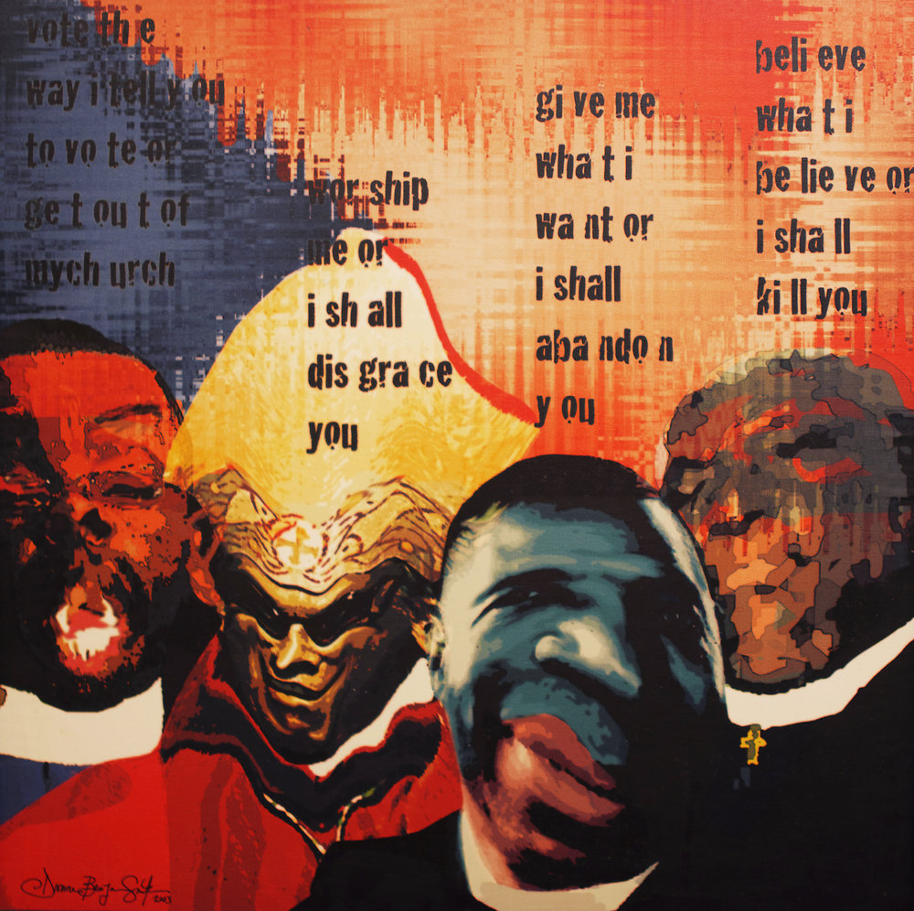 """Bishops, bishops everywhere and not a drop to drink"", Dionne Benjamin-Smith, 2003, digital print, 24 x 24. Part of the National Collection, courtesy of the 2003 Collection Fund."