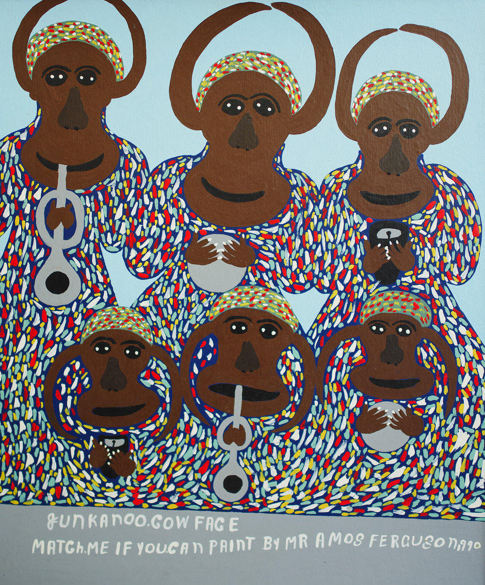 "Amos Ferguson.  Junkanoo Cow Face - Match Me If You Can,  1999. 36"" x 30"". House paint on board. Image courtesy of The National Collection."
