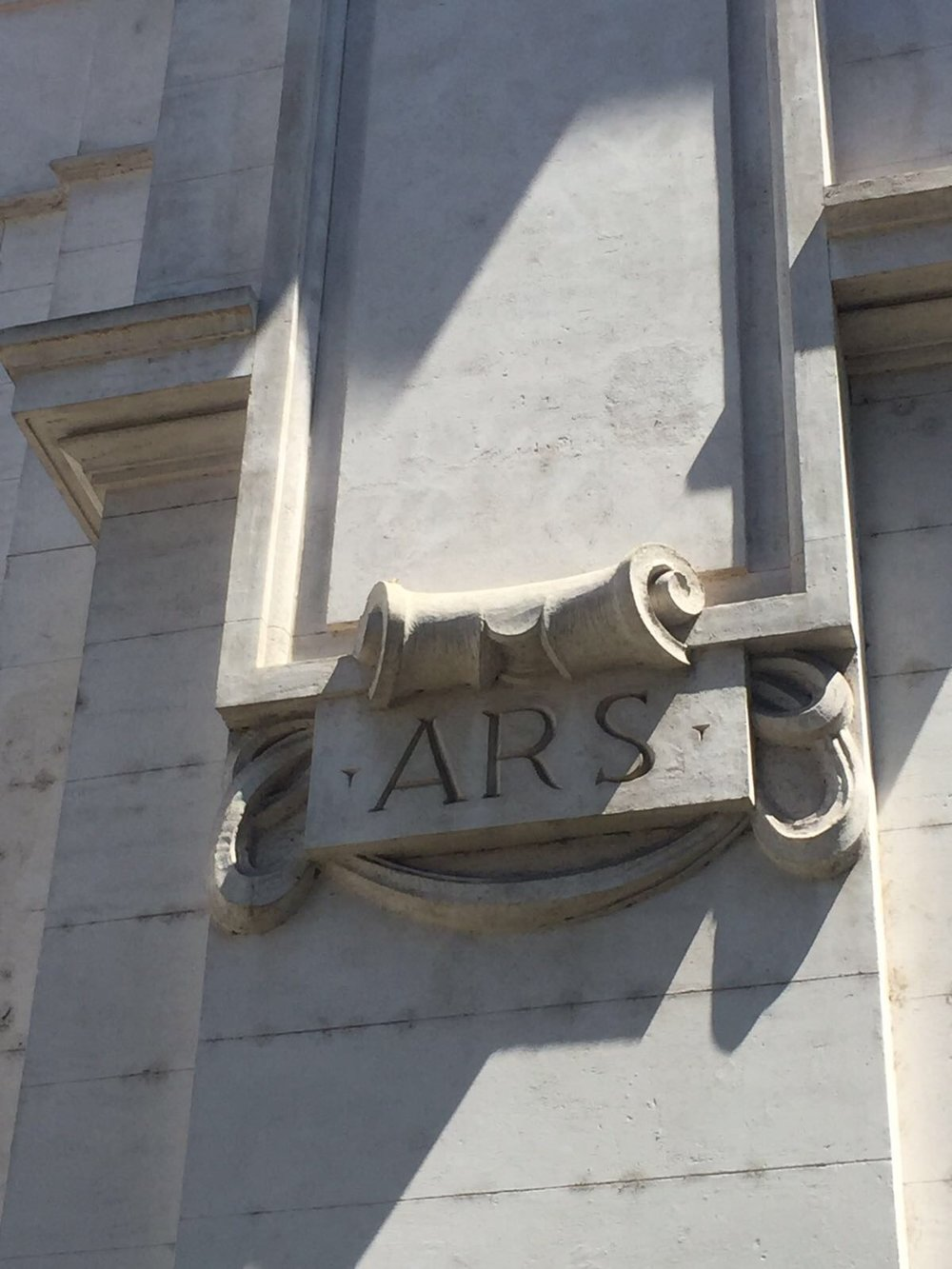Outside the Galleria Nazionale d'Arte Moderna. 'ARS' is the Latin for 'art'.