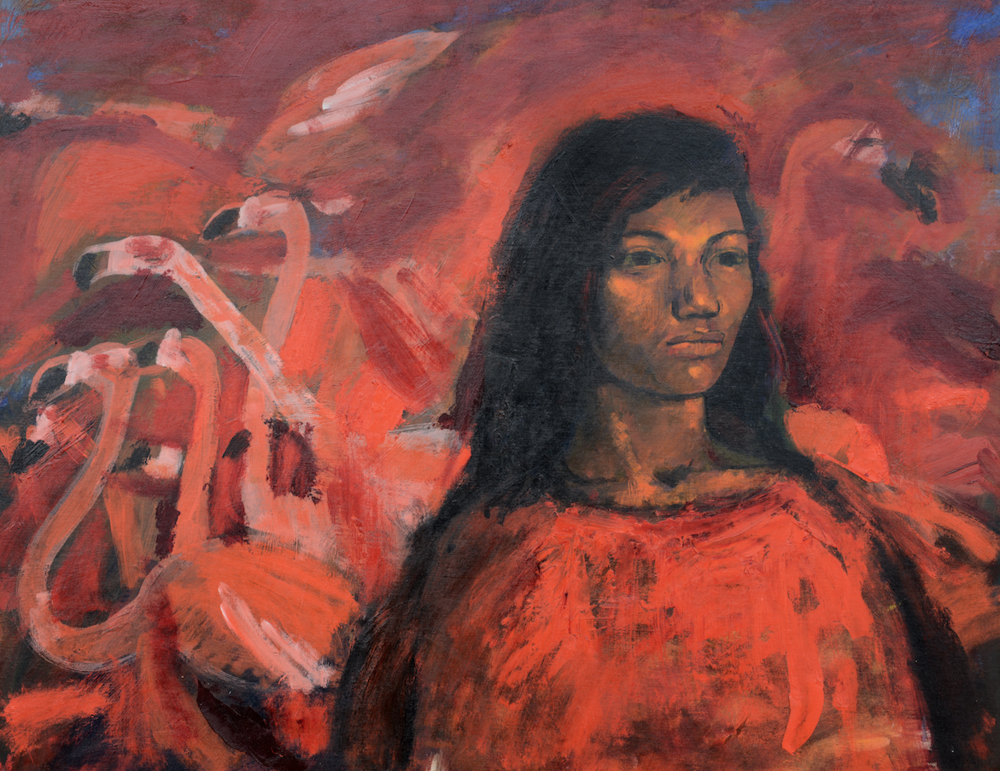 """Woman With Flamingoes"" (1996-97), R. Brent Malone, acrylic on canvas, 24 x 30. Part of the National Collection, donated in memory of Jean Cookson."