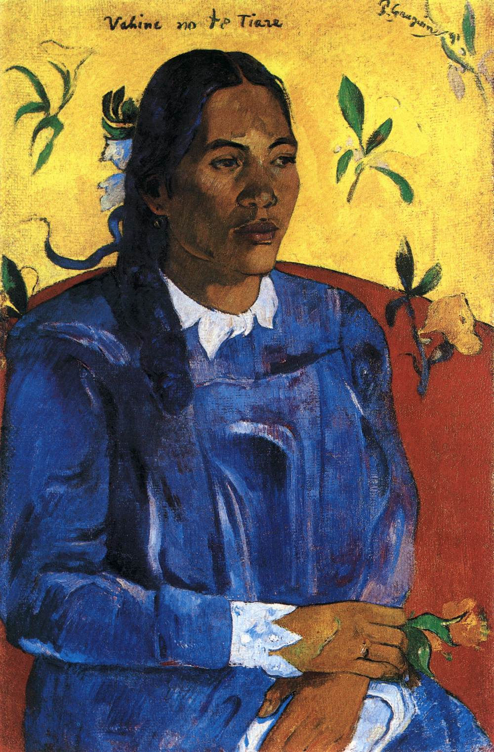 """Vahine No te Tiare (Woman With a Flower)"" (1891), Paul Gauguin, oil on canvas, 27 ½ x 18, Ny Carlsberg Glyptotek, Kopenhagen. Photo: Ole Haupt."