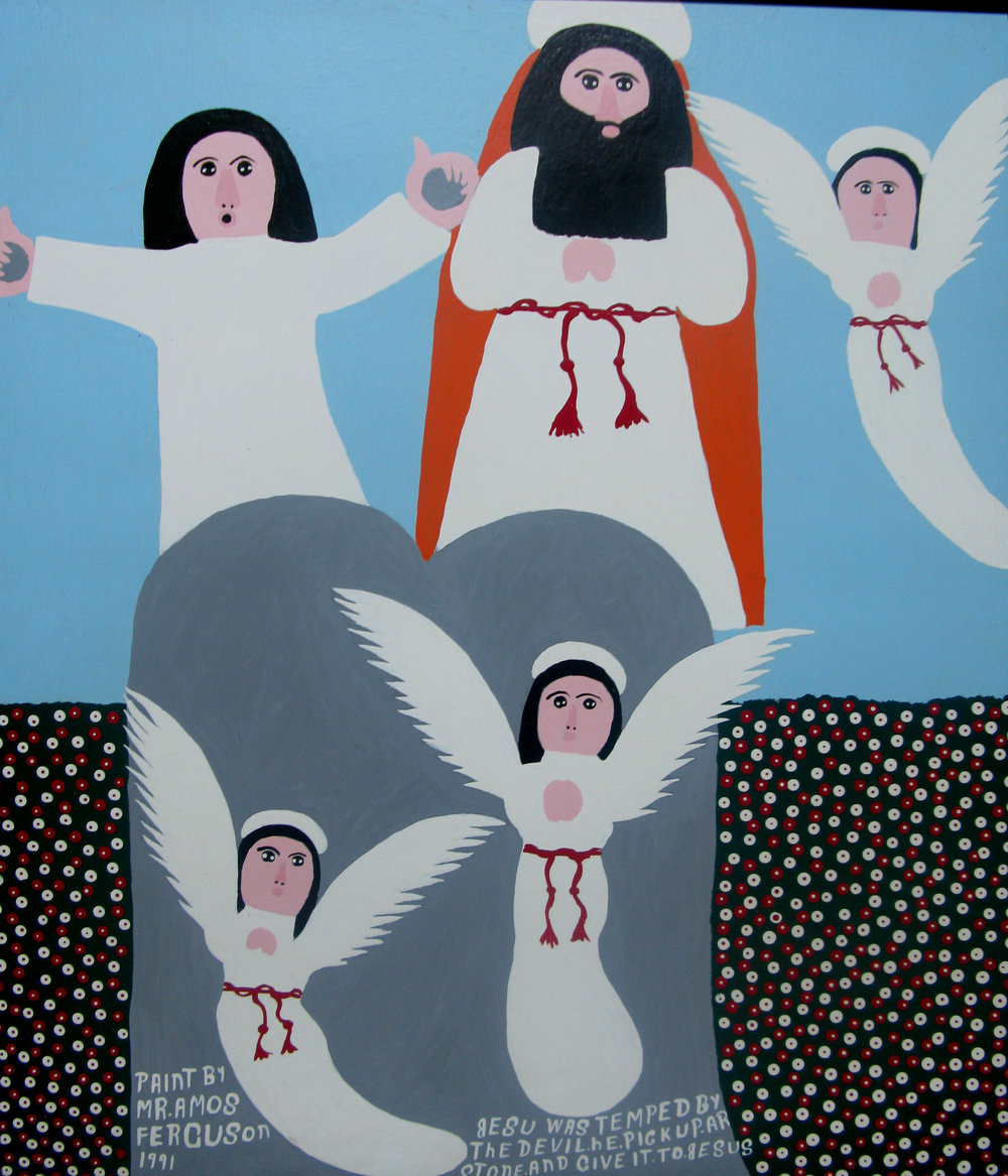 """Jesu was tempted by the Devil. He pick up ar stone and give it to Jesus"" (1991), Amos Ferguson, house paint on board, 36 x 30. Part of the National Collection, donated by the Ministry of Tourism."
