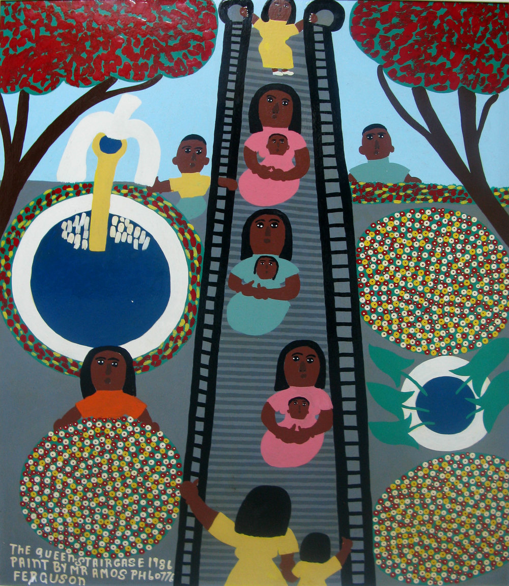 """The Queen Staircase"" (1986), Amos Ferguson, house paint on board, 36 x 30. Part of the National Collection, donated by the Ministry of Tourism."