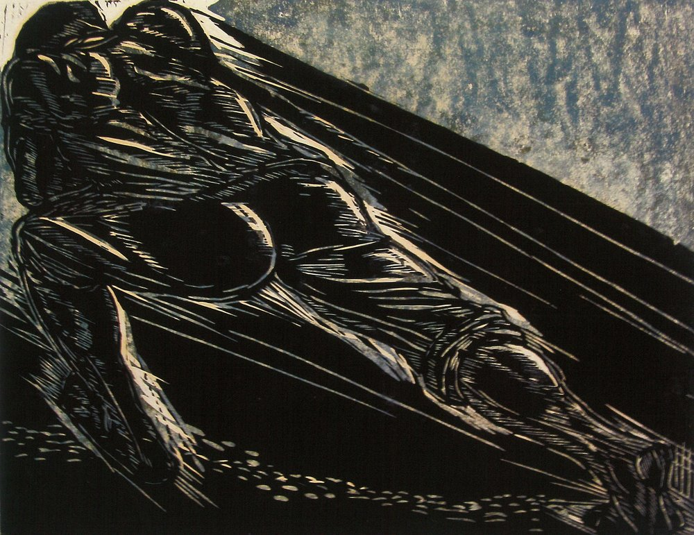 """Pulling No. 1"" (1982), Maxwell Taylor, woodcut print on paper, 16 x 21. Part of the National Collection."