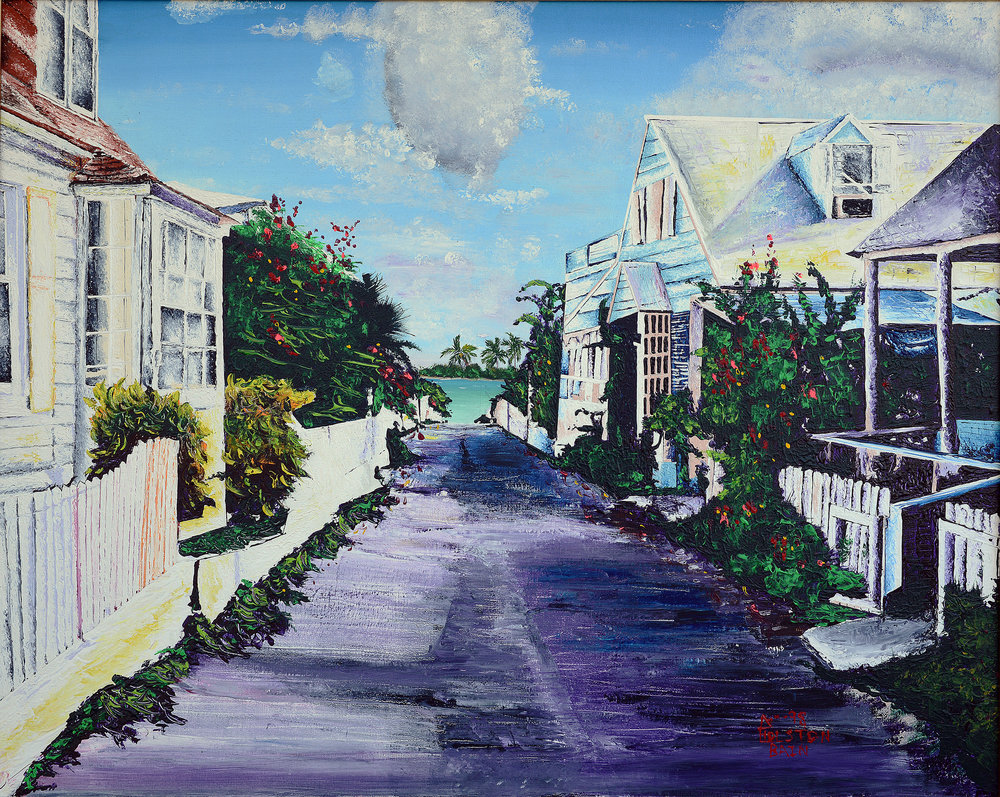"""lsland Homes"" By Holston Bain, acrylic on canvas. 1998. (Photo Courtesy of The Central Bank of The Bahamas)"