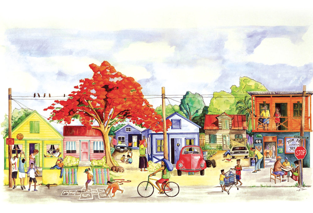 """Jook Jook Corner"" by Keisha Oliver, watercolour on paper. 2012. (Photo Courtesy of Artist)"