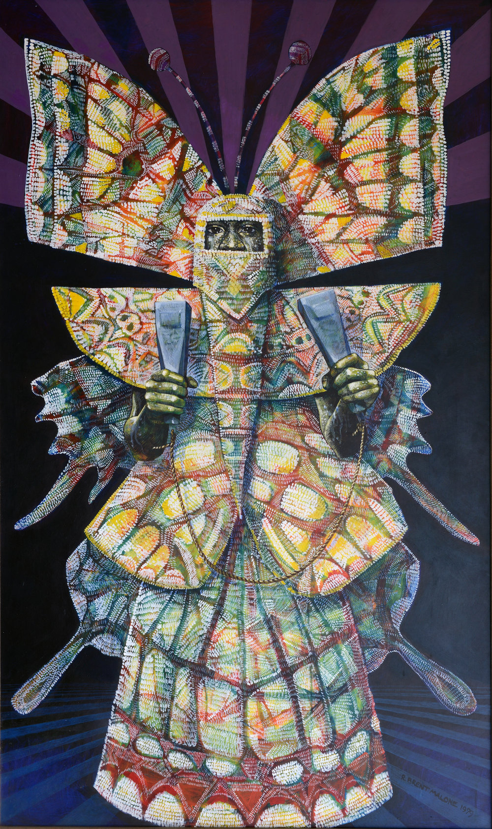 """Metamorphosis"" (1979), R Brent Malone, acrylic on hardboard, 60 x 36. Part of the National Collection, purchased using the Membership Fund 2005-2006, currently on display in the NAGB's Permanent Exhibition ""Revisiting An Eye For the Tropics""."