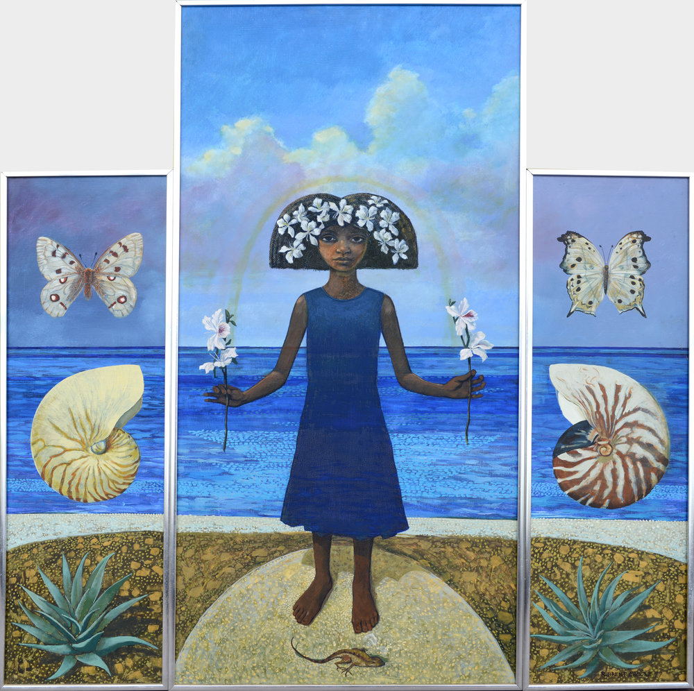 """Earth Sea Sky (Triptych of Unity)"" 1977, R Brent Malone, acrylic and oil on hardboard, 17 x 8 ½ (2), 36 x 17 ½. Part of the Pam Burnside Collection."