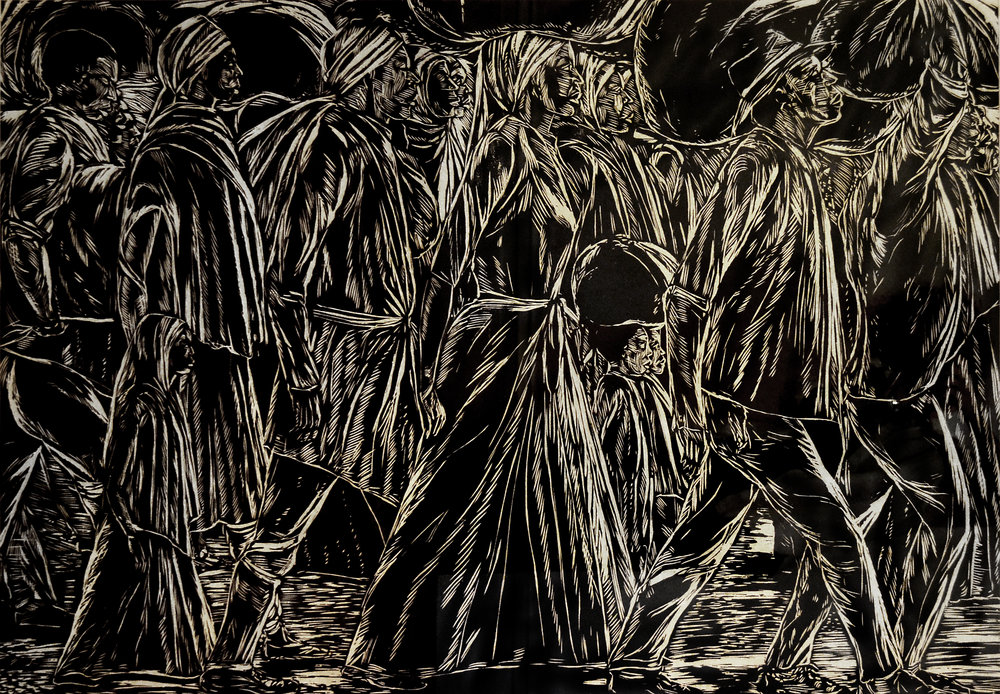 """The Immigrants No.3"" (c1990), Maxwell Taylor, artist's proof woodcut print on paper, 32 x 48. Part of the National Collection."