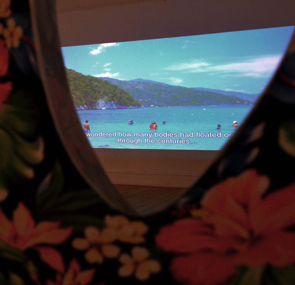 """Installation view of """"Labadee"""" (2017), a film work by Joiri Minaya as part of """"Re: Encounter"""", the newest Double Dutch exhibition on at the NAGB."""