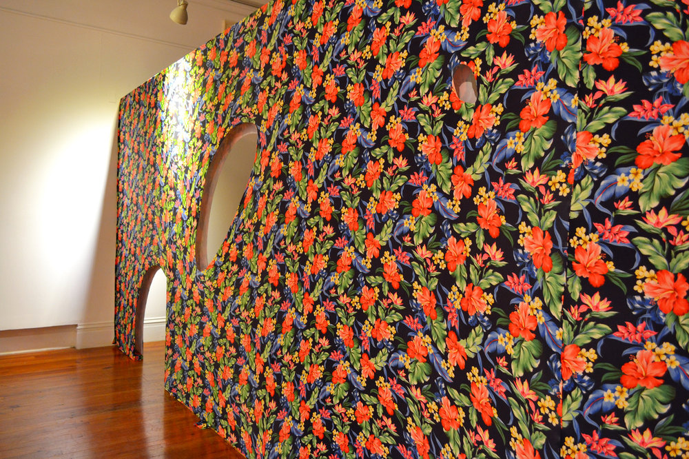 "Joiri Minaya. Installation ""Invitation To Transgress"" made from spandex, 10 x 26', on view as a part of the 6th Double Dutch, entitled ""Re: Encounter,"" on view at that National Art Gallery of The Bahamas through Sunday, November 26th, 2017."