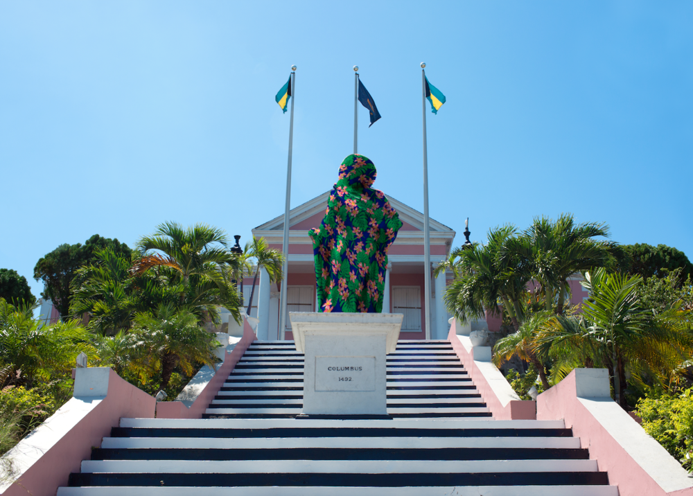 """Proposal For Artistic Intervention on the Columbus Statue in Front of Government House, Nassau"" (2017), Joiri Minaya, postcard, 5x7."