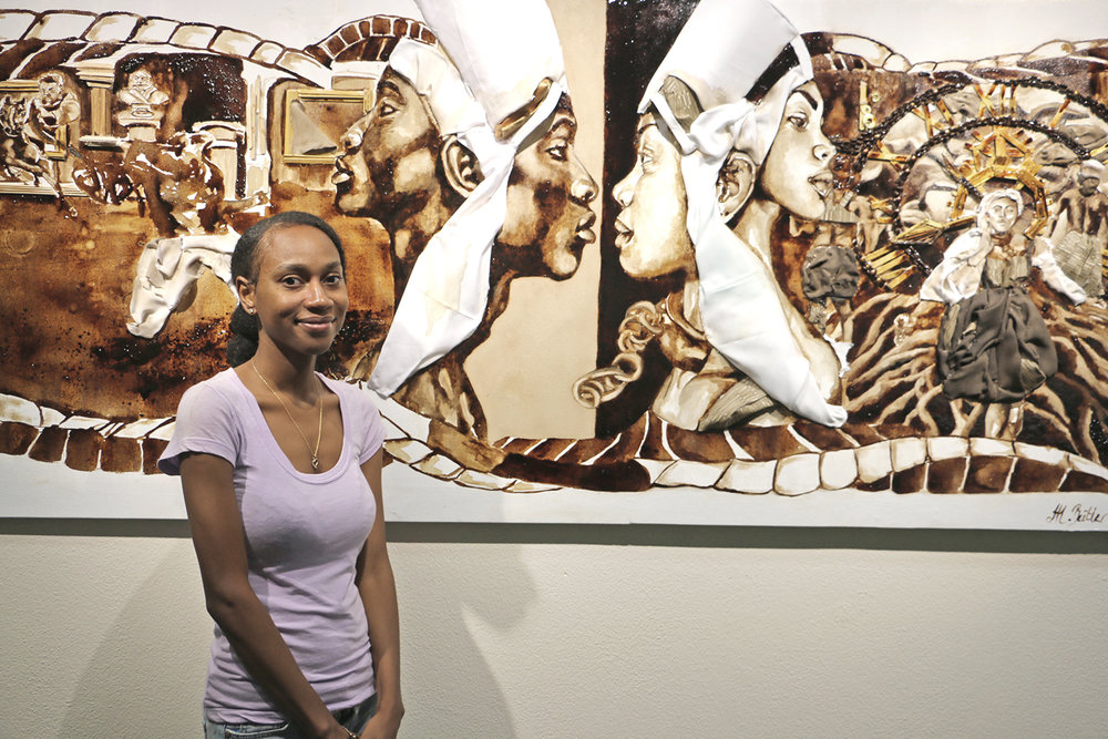 The Central Bank of The Bahamas 34th Annual Art Competition Staff Choice Award Winner, Minolta Butler with her coffee painting 'A Taste of Freedom""