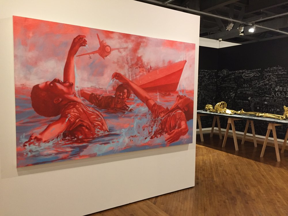 Kishan Munroe (left)  The Sinking of the HMBS Flamingo  (2013), oil on canvas; background (right) Jorge Pineda,  Anatomy Lesson:   Exquisite Corpse  , After Joseph Beuys  (2013)