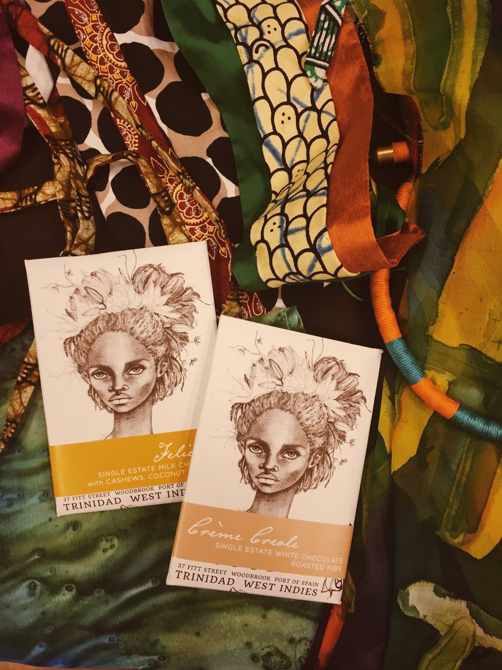 Cultural Booth of Trinidad and Tobago with the branding of chocolate by artist Brianna McCarthy.