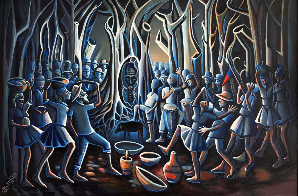 """""""Ceremonie de Bois Cayman: The Voodoo Still Lives"""" (2007), Eric Jean Louis, oil on canvas, 24 x 36. Part of the D'Aguilar Art Foundation Collection as seen in """"Medium: Practices and Routes of Spirituality and Mysticism"""" on at the NAGB through March 11th."""