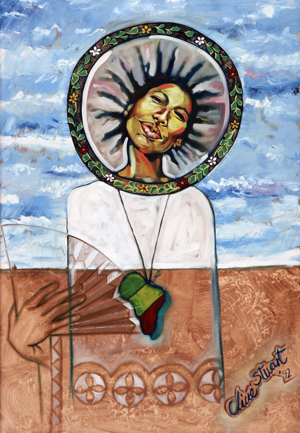 """Mother Earth"" (1992), Clive Stuart, acrylic on plywood, 48 x 43. Part of the D'Aguilar Art Foundation Collection."