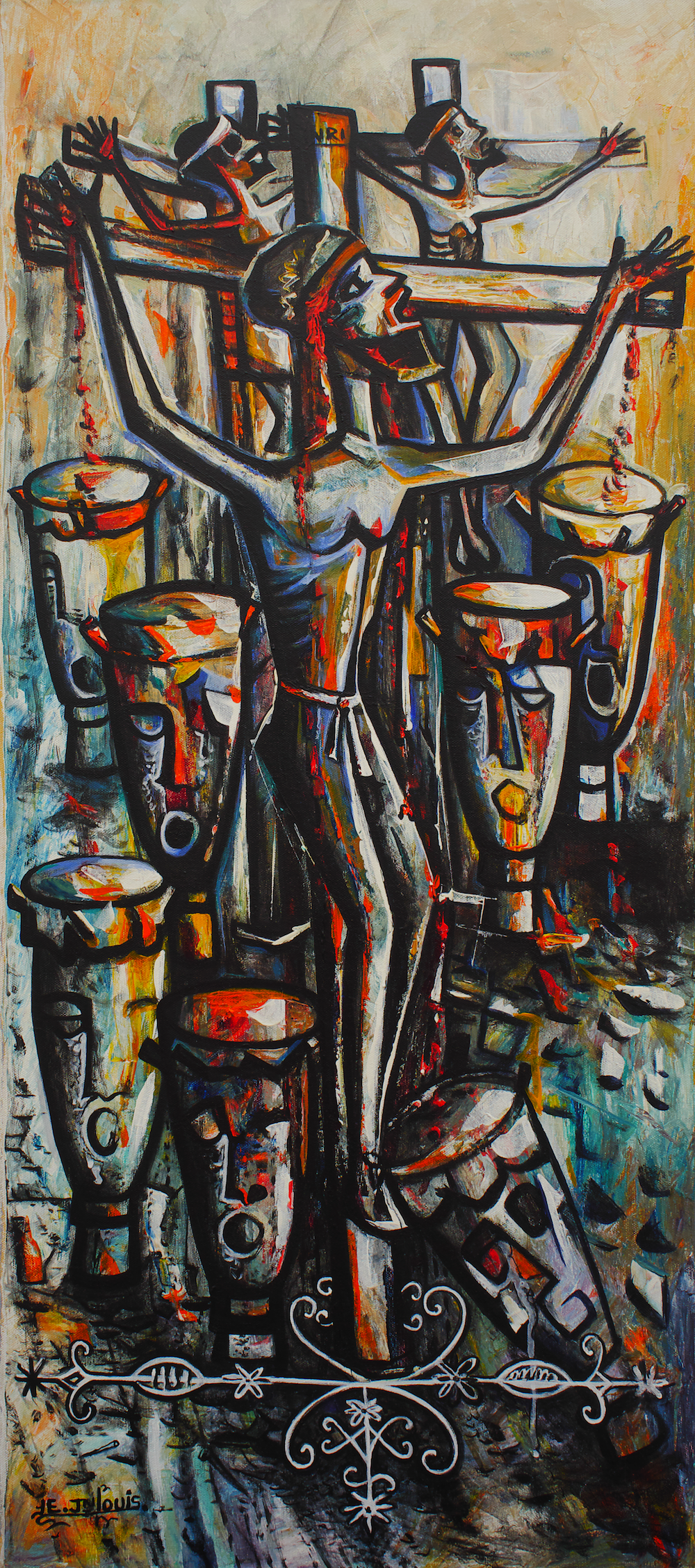 "Eric Jean Louis. ""The Crucifixion II"" (2007), acrylic on canvas, 48"" x 43"", 2009. Image from the D'Aguilar Art Foundation."
