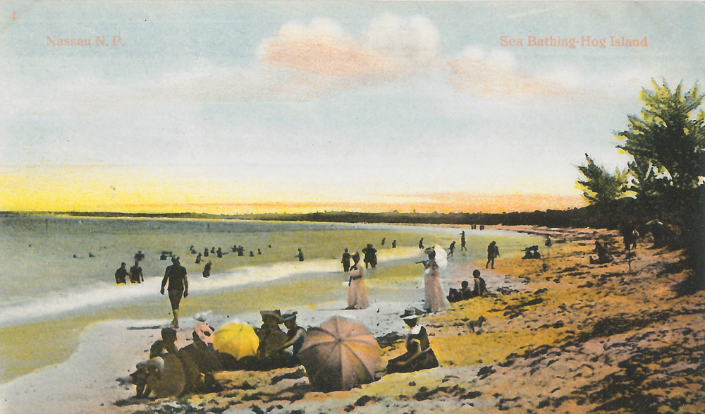 """Sea Bathing - Hog Island"" (c.1860-1930), hand-coloured postcard, 3 1/2 x 5 1/2. Part of the National Collection."