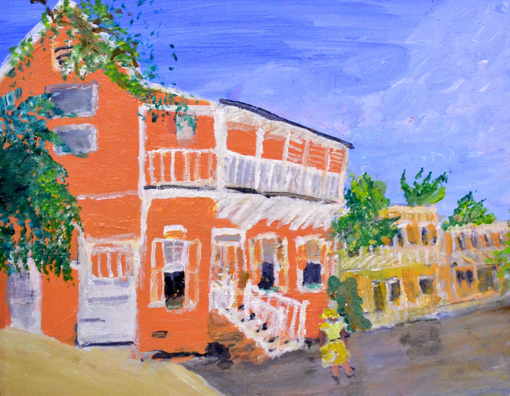 """Untitled (Balcony House)"" (nd), Peggy Jones, acrylic on canvas, 8 1/2 x 11. Collection of the artist. As seen in ""In Retrospect: The Whimsy of Peggy Jones"" in the Project Space at the NAGB."