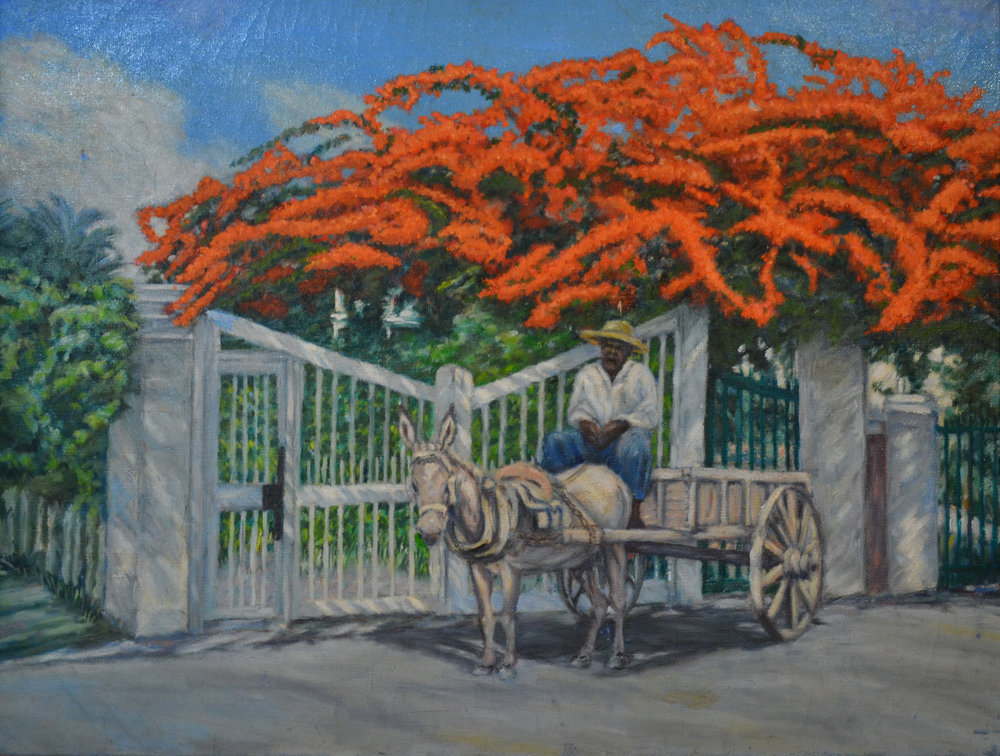 """Two Natives at the Gate"" (1971), William Sweeting, oil on canvas, 14 x 18. Part of the Dawn Davies Collection."