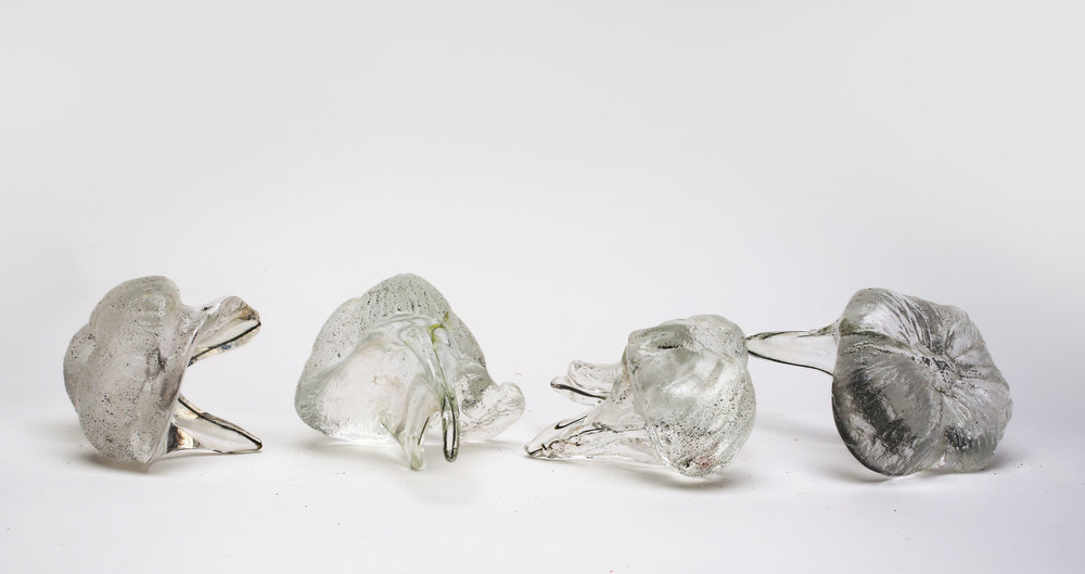 """""""Wisdom Teeth"""" (2017), Anina Major, glass, 3 x 5 x 3 (4). Collection of the artist. Cast from dried coconut husks in sand."""