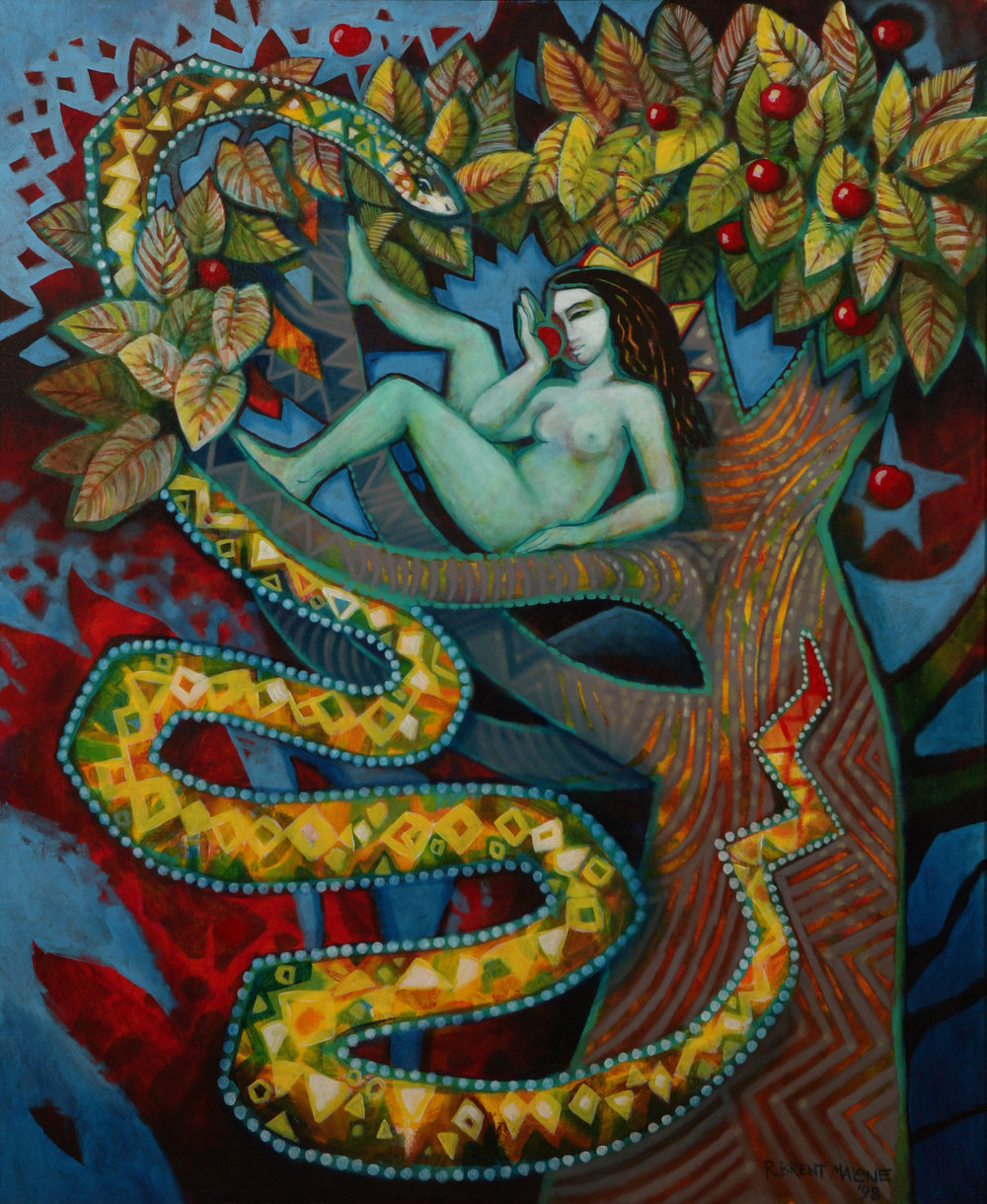 """Eve With Serpent"" (1998). Brent Malone. Acrylic on canvas,. 36 x 32. Image courtesy of the The Dawn Davies Collection"