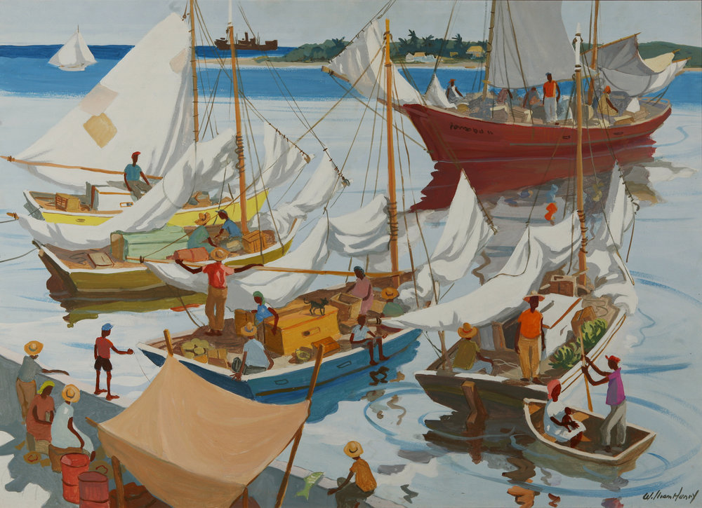 "William Henry. ""Harbour Scene"", acrylic on masonite, 30 x 34, nd. Image courtesy of the Dawn Davies Collecton."