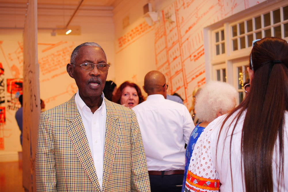 "George V. Cox at the opening of his retrospective ""The Unseen Structure"", curated by his son John Cox at the National Art Gallery of The Bahamas in April 2017."