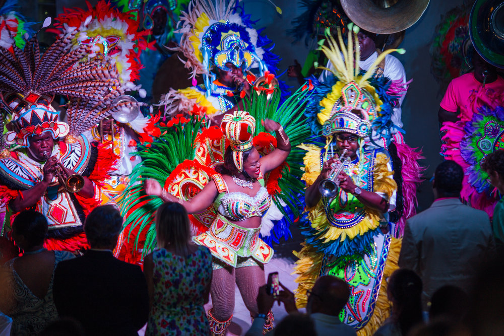 Junkanoo rush out to end the evening's opening.  Images courtesy of Kovah Duncombe Photography and Cacique International