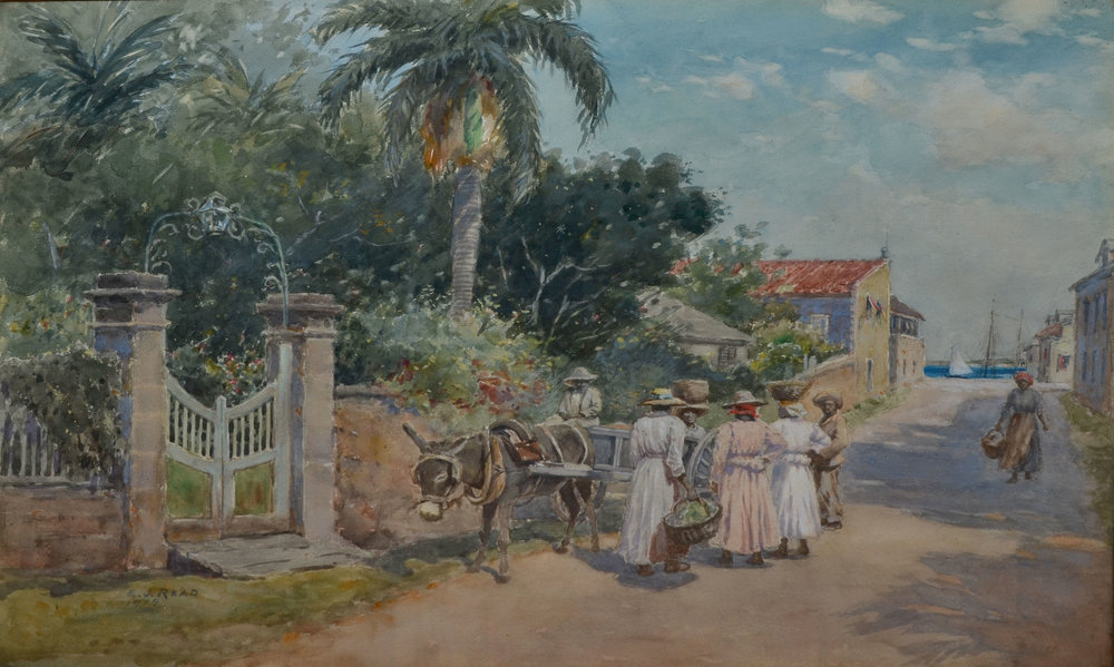 """East Street With Donkey and Cart"" (1914), E J Read, watercolour on paper, 17 x 24. Part of the Dawn Davies Collection."