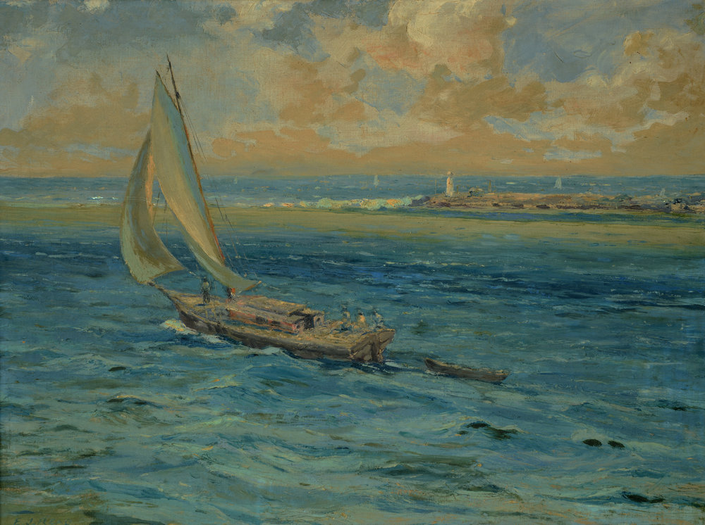 """Out to sea"" (nd). E. J. Read, oil on canvas, 20 ½ x 27. Image courtesy of the Dawn Davies Collection"