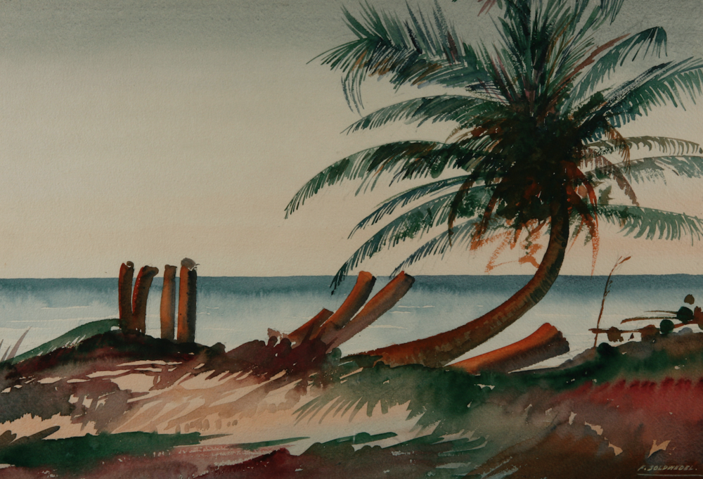 "Lone Palm, nd. Frederic ""King"" Soldwedel, oil on canvas, 24 x 30. Image courtesy of the Dawn Davies Collection."