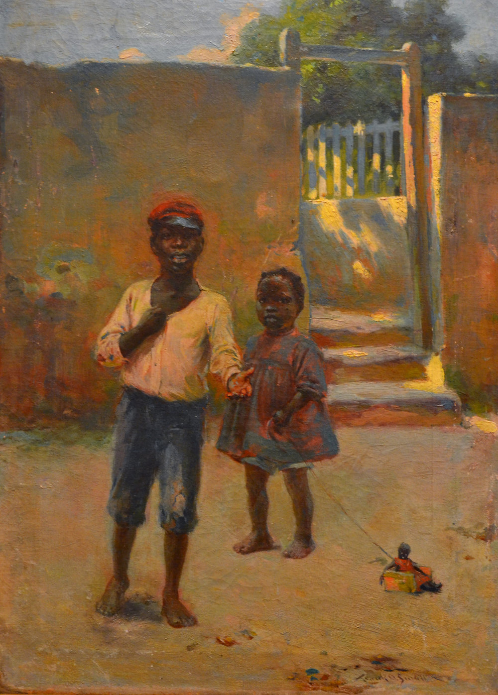 """Young Children"" (nd), Frank Otis Small, oil on canvas, 21 ½ x 15 ¼ . In the collection of Peter and Pippa Vlasov and currently on display at the NAGB in ""Traversing the Picturesque""."