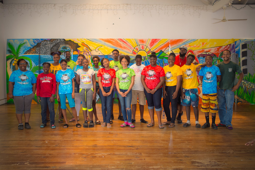 From Left to right: Abby Smith, Community Outreach OffIcer; Second row, Alfred Williams (Art Teacher, North Eleuthera High School), Kevin Rolle (Art Teacher, Harbour Island All Age School), Will Simmons (Art Teacher, Preston Albury High School) and Eleuthera student collective.