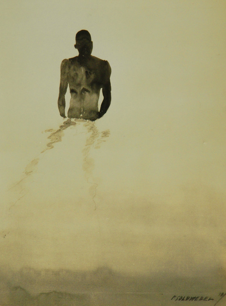 "Frederic ""King"" Soldwedel. ""Bather"", photographic image of watercolour study, 10"" x 8"", 1930.  Image courtesy of the Dawn Davies Collecton."
