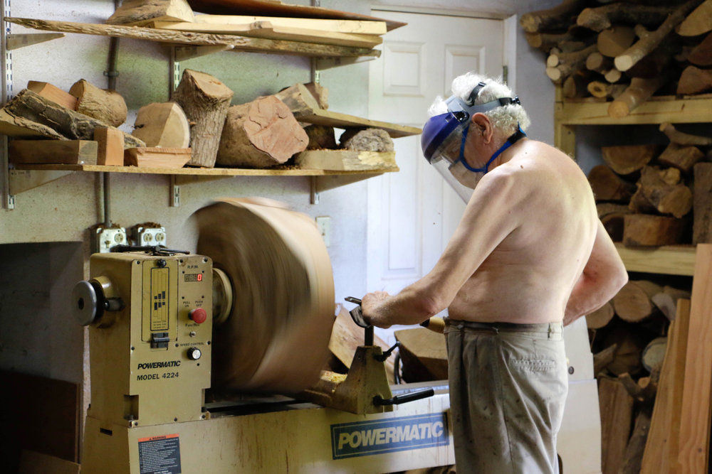 Robin Hardy turning a bowl in his workshop. Nassau, The Bahamas.  (Photo by Keisha Oliver)