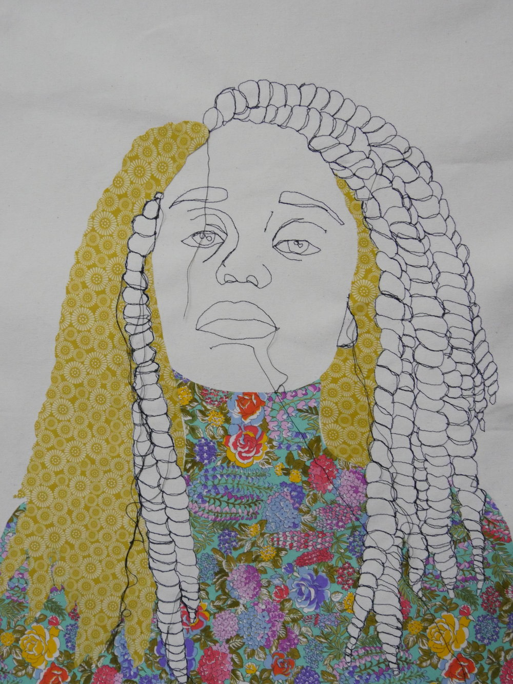 "Detail of ""My Hands are Clean"" (2017?) series by Giovanna Swaby. Portraiture made using thread and fabric on canvas, displayed in ""Die Textile"" in Schmallenberg, Germany. Swaby exhibited alongside artists Josef Albers, Joseph Beuys, and Pablo Picasso in the same festival."