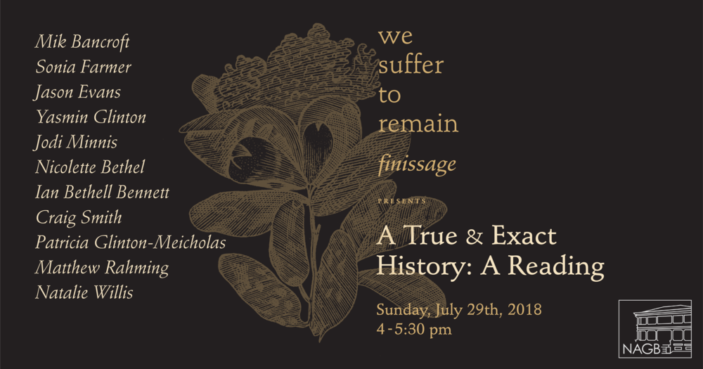"Promotion for Sonia Farmer's ""A True and Exact History: A reading. Design by Kriston Chen."