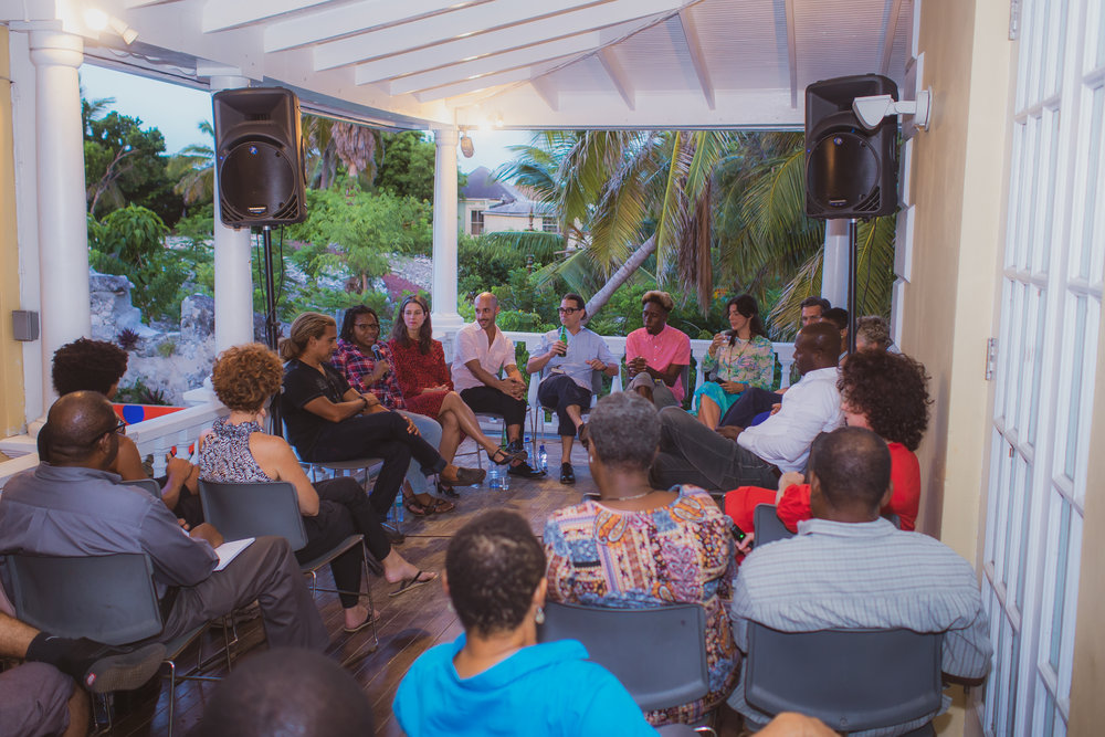 Double Dutch Artists Talk being held at the NAGB with members from Plastico Fantastico and Expo 2020 on August 23rd, 2018. Image by Jackson Petit and courtesy of the NAGB.
