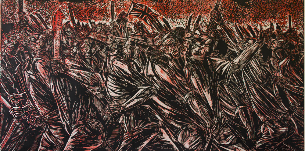 """Burma Road"" (c 2008), Maxwell Taylor, woodcut print on paper, 36 x 72½. Part of the D'Aguilar Art Foundation Collection."