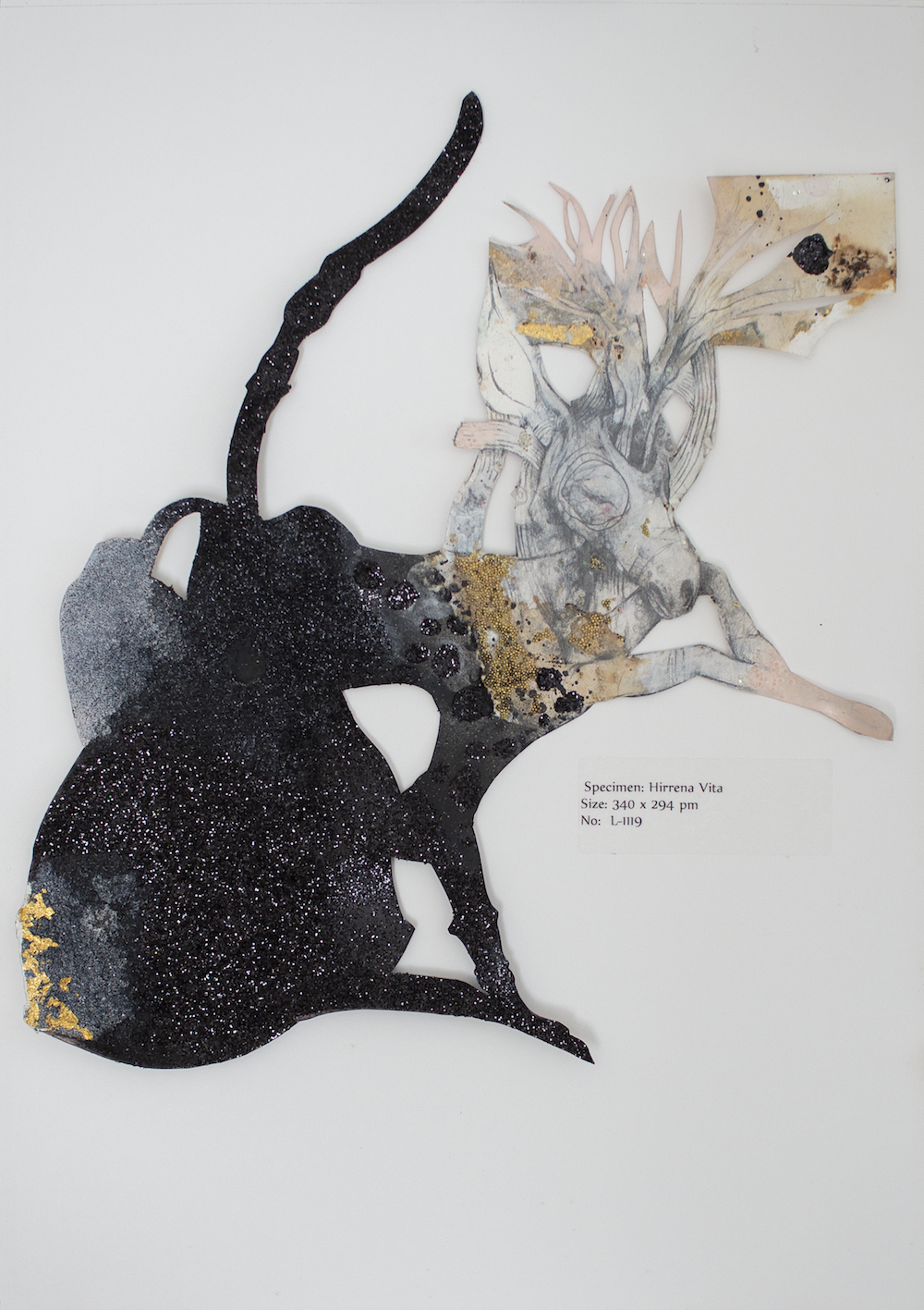 """Specimen L-1119"" (2011), Lavar Munroe, black glitter, glass beads, acrylic, and graphite on paper, 11 x 19. Part of a Private Collection and currently on display as part of the Lavar Munroe 10-Year-Survey ""Son of the Soil""."