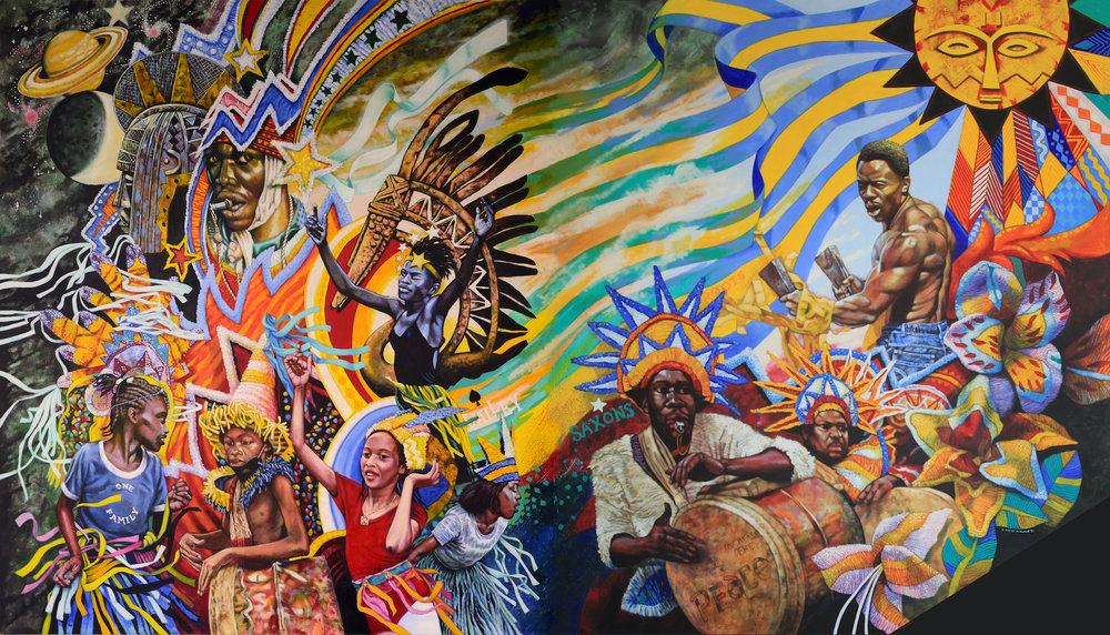 """R. Brent Malone, """"Celebration: Spirit of Junkanoo,"""" (1996). Acrylic on canvas, 11' x 18' NAGB, National Collection. Gifted by UBS (2018). Image courtesy: The Malone Estate"""