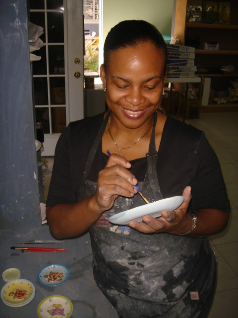 Jessica Colebrooke at work in her studio.