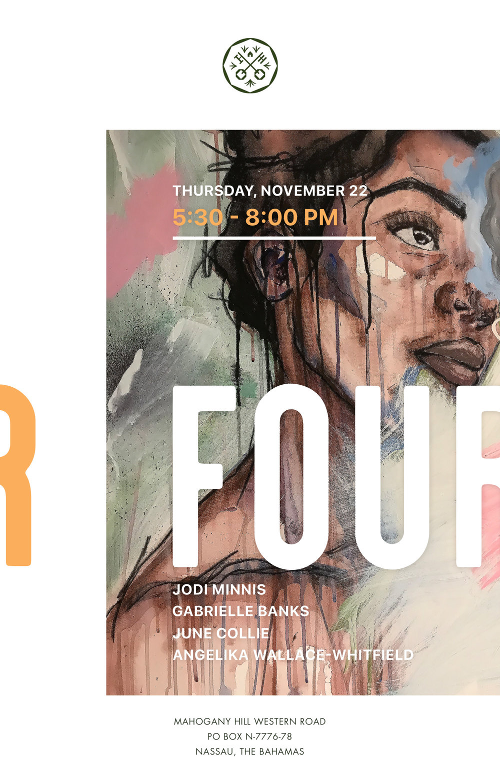 FOUR exhibition flyer designed by artist Piaget Moss, featuring artwork by Angelika Wallace-Whitfield.