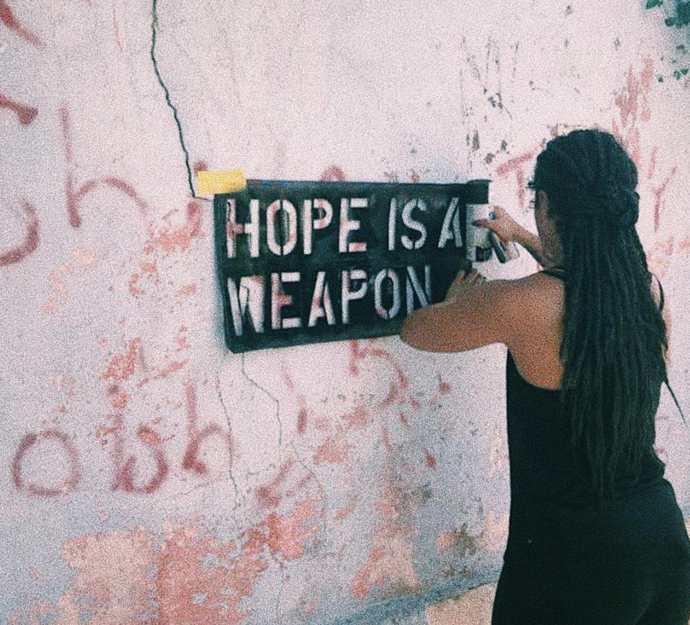 "Angelika Wallace-Whitfield adorns the National Art Gallery of The Bahamas' space with her NE9 public project ""Hope Is a Weapon"". Images courtesy of the artist."