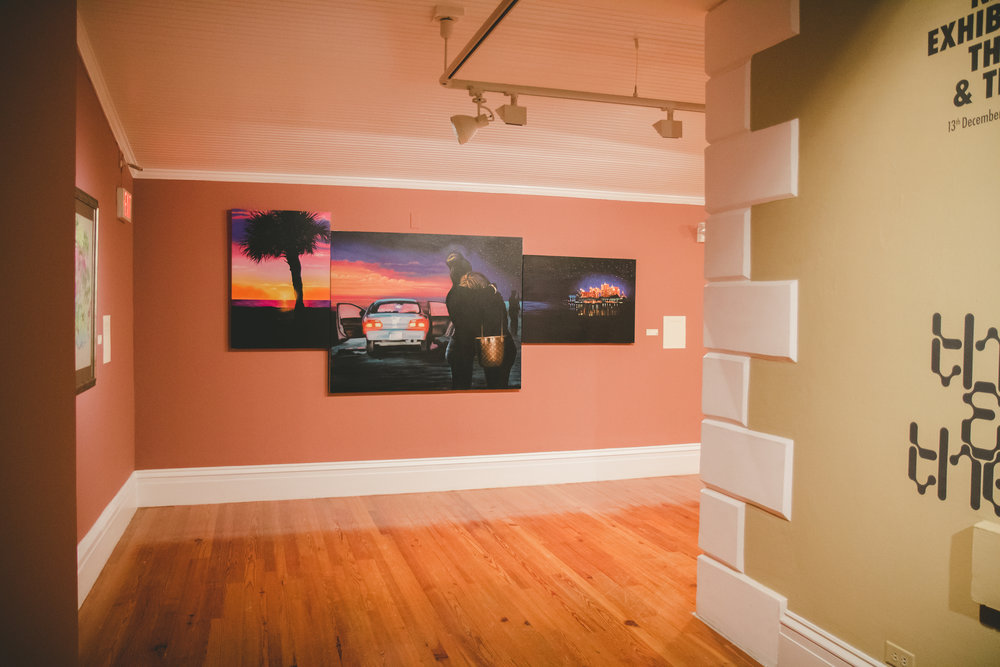 """'Caribbean Sunrise', (2018).  Dave Smith, acrylic on canvas. 54"""" x 128"""". Collection of the artist. Image courtesy of Jackson Petit at the NAGB."""